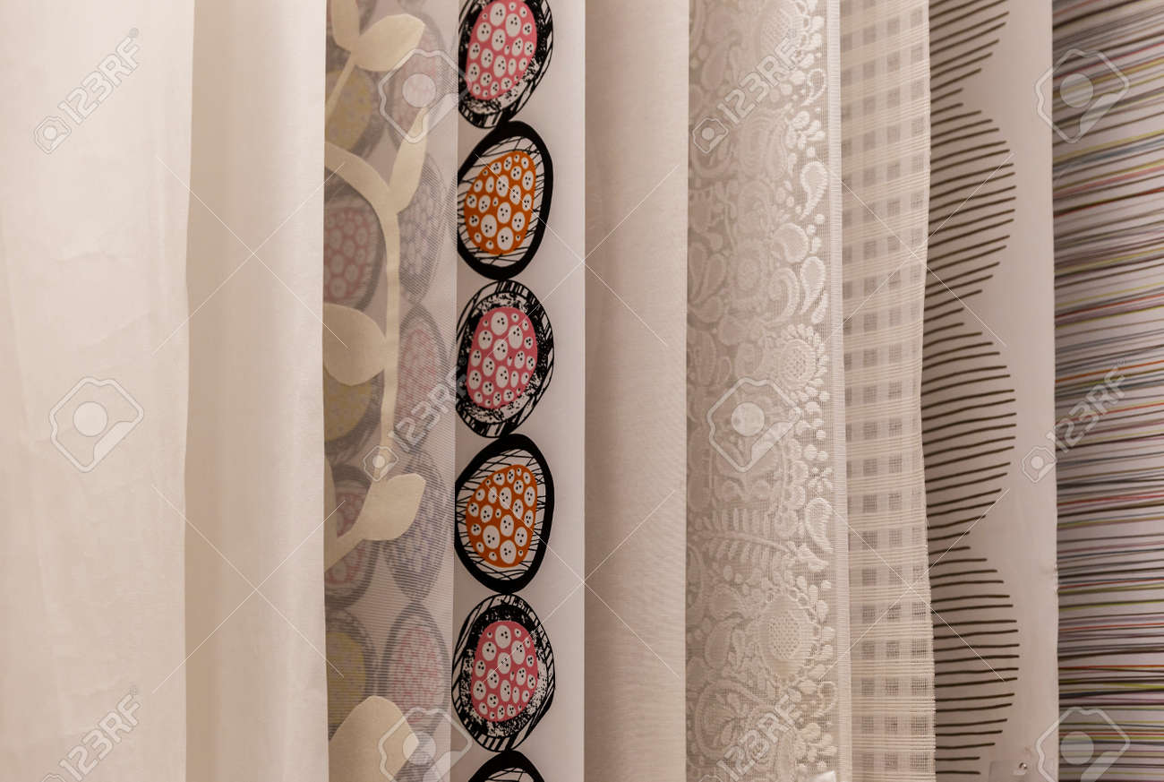 Samples curtains hanging in the store - 46144275