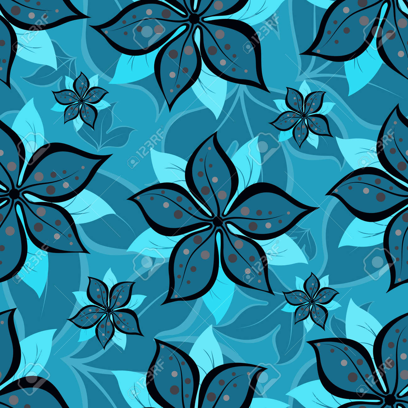 Abstract seamless repeating pattern of summer flowers.Vector - 54052924