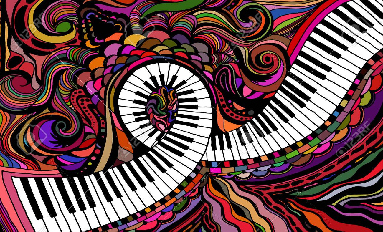 An abstract colored pattern consisting of a piano key ribbon - 80499827