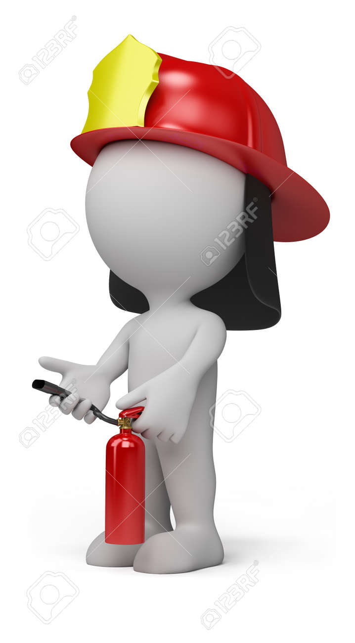 3d person - fireman with the fire extinguisher and in a helmet. 3d image. Isolated white background. Stock Photo - 12612636