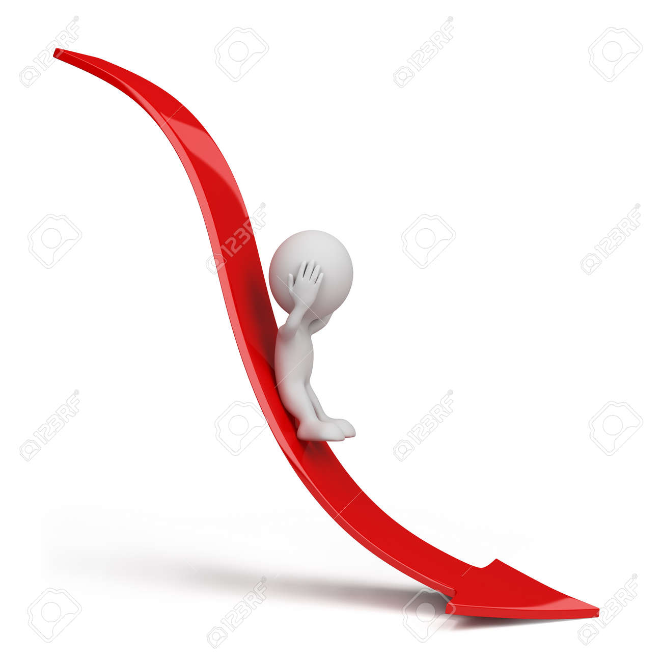 3d person rolls down the red arrow. 3d image. Isolated white background. Stock Photo - 12611835