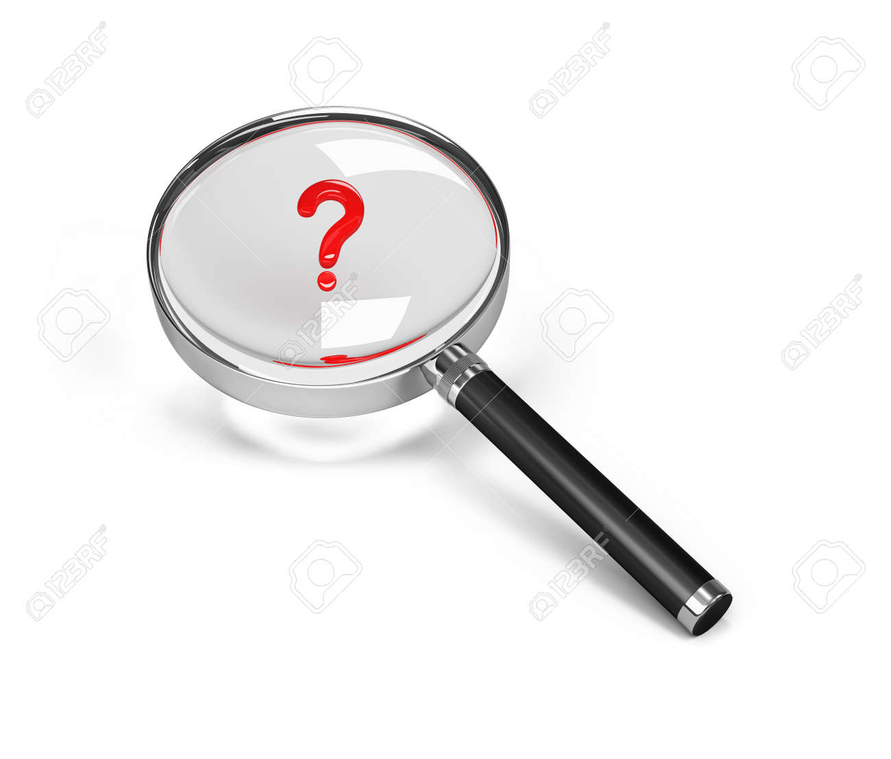 3d person with magnifying glass and question mark stock images image - Question Mark Under A Magnifying Glass 3d Image White Background Stock Photo