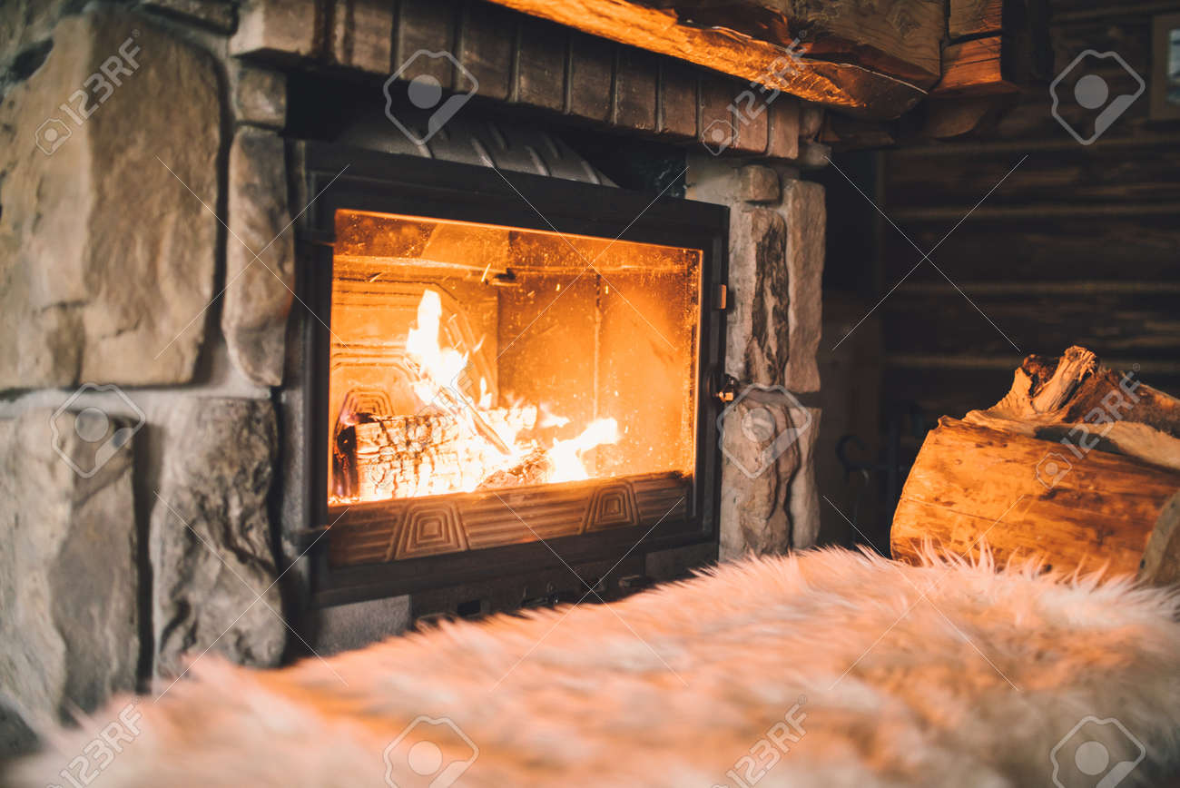 Cozy By The Fireplace Warm Cozy Fireplace With Real Wood Burning In Itcozy Winter