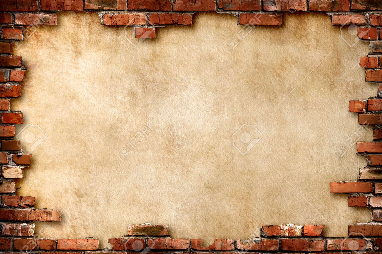 Grungy parchment paper background surrounded by red brick frame isolated with clipping path - 6543873