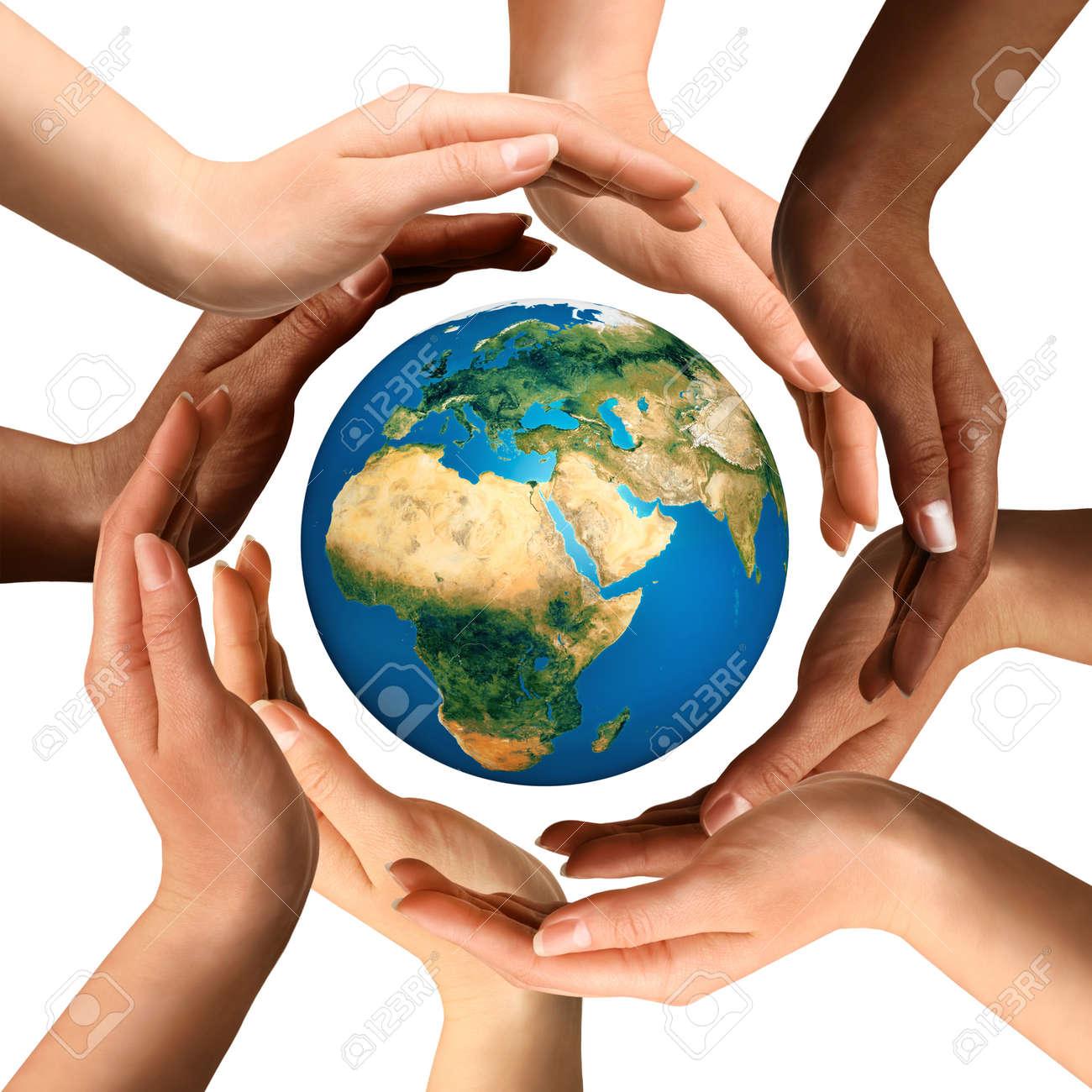 Conceptual symbol of multiracial human hands surrounding the conceptual symbol of multiracial human hands surrounding the earth globe unity world peace buycottarizona Gallery