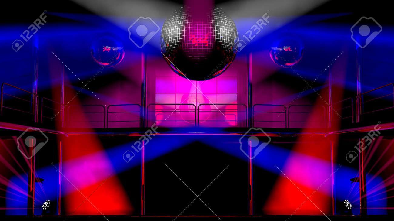 1bea8a026 Foto de archivo - Interior del club de noche con focos de colores y  brillantes bolas de discoteca espejo artístico espectáculo de luz