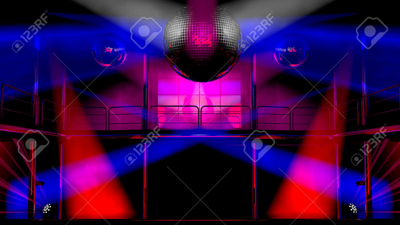 Night Club Interior With Colorful Spot Lights And Shining Mirror ...