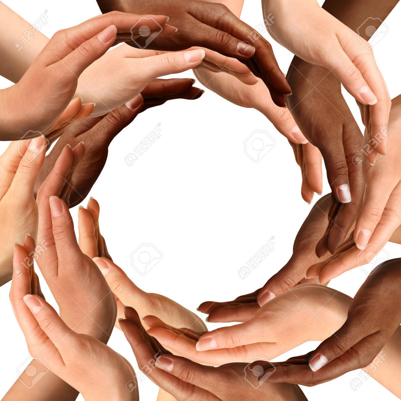 Conceptual symbol of multiracial human hands making a circle conceptual symbol of multiracial human hands making a circle on white background with a copy space biocorpaavc Gallery
