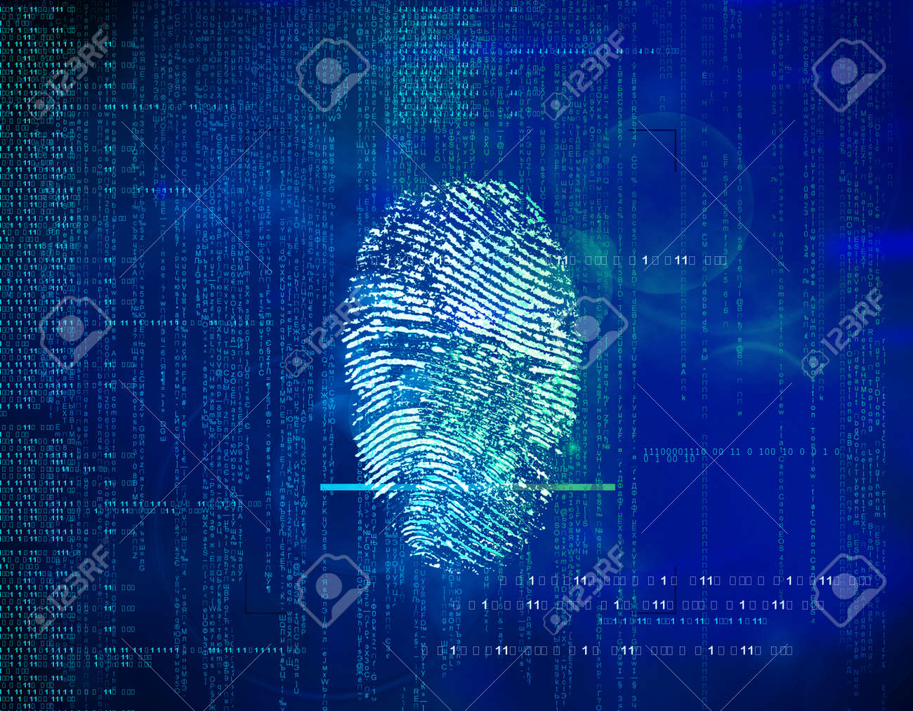 Abstract future background binary code and fingerprints. concept of security in technology, information and Web address . Biometric identity control and approval. - 93363011