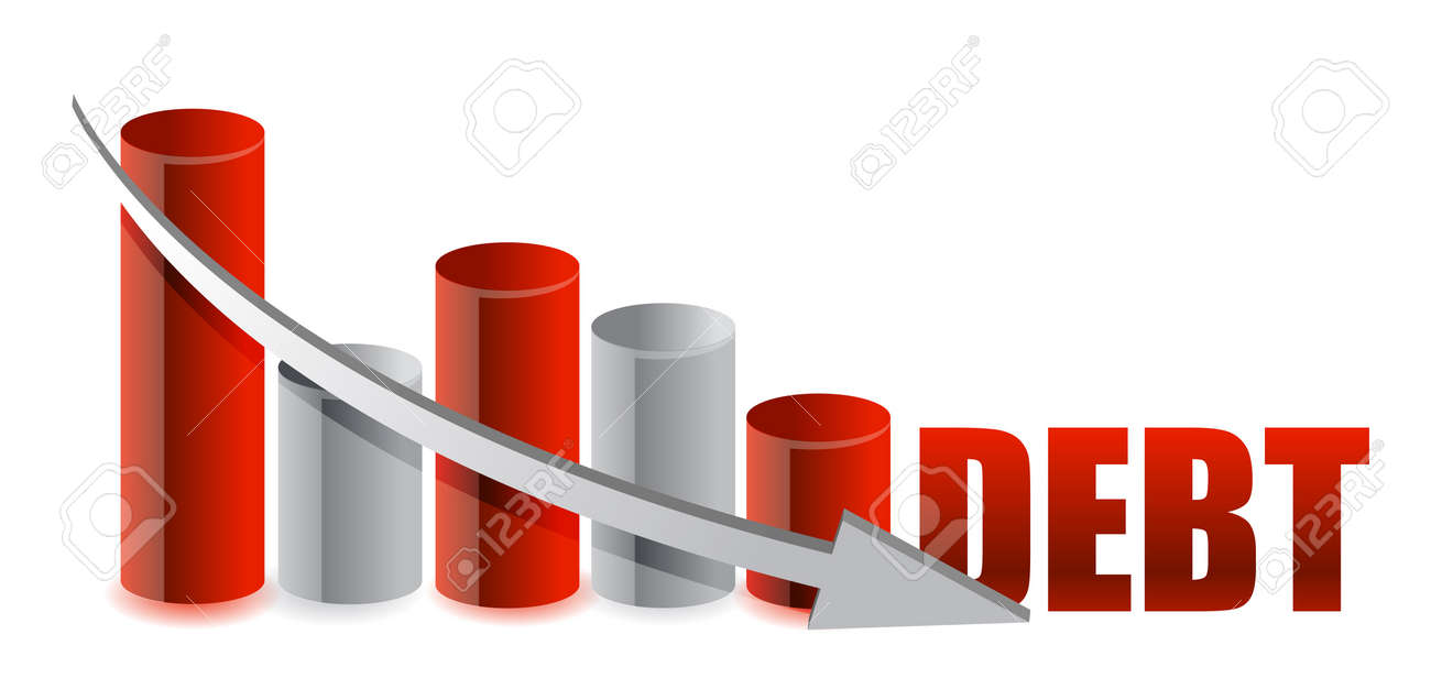 debt falling graph with arrow illustration design Stock Vector - 11226163