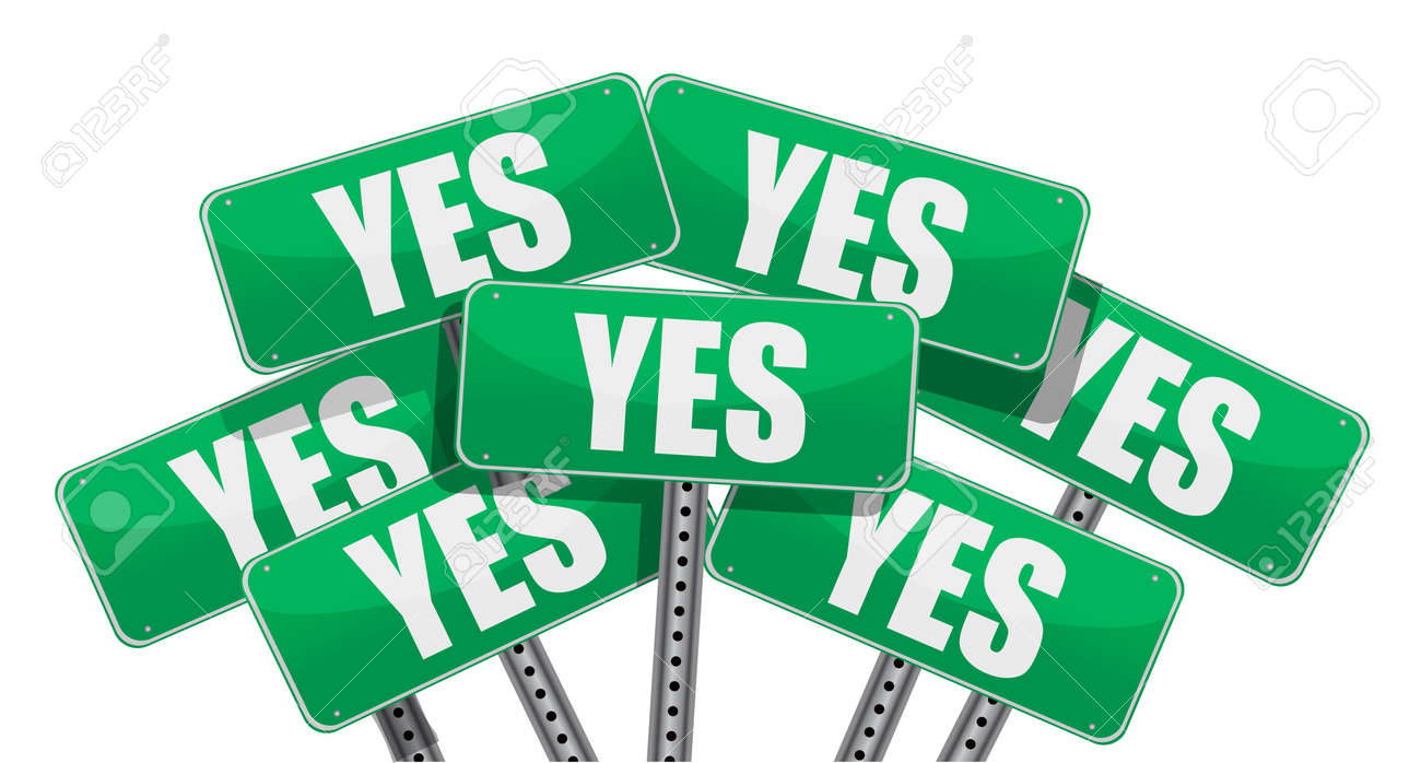 green yes signs illustration design on white background Stock Vector - 11226210