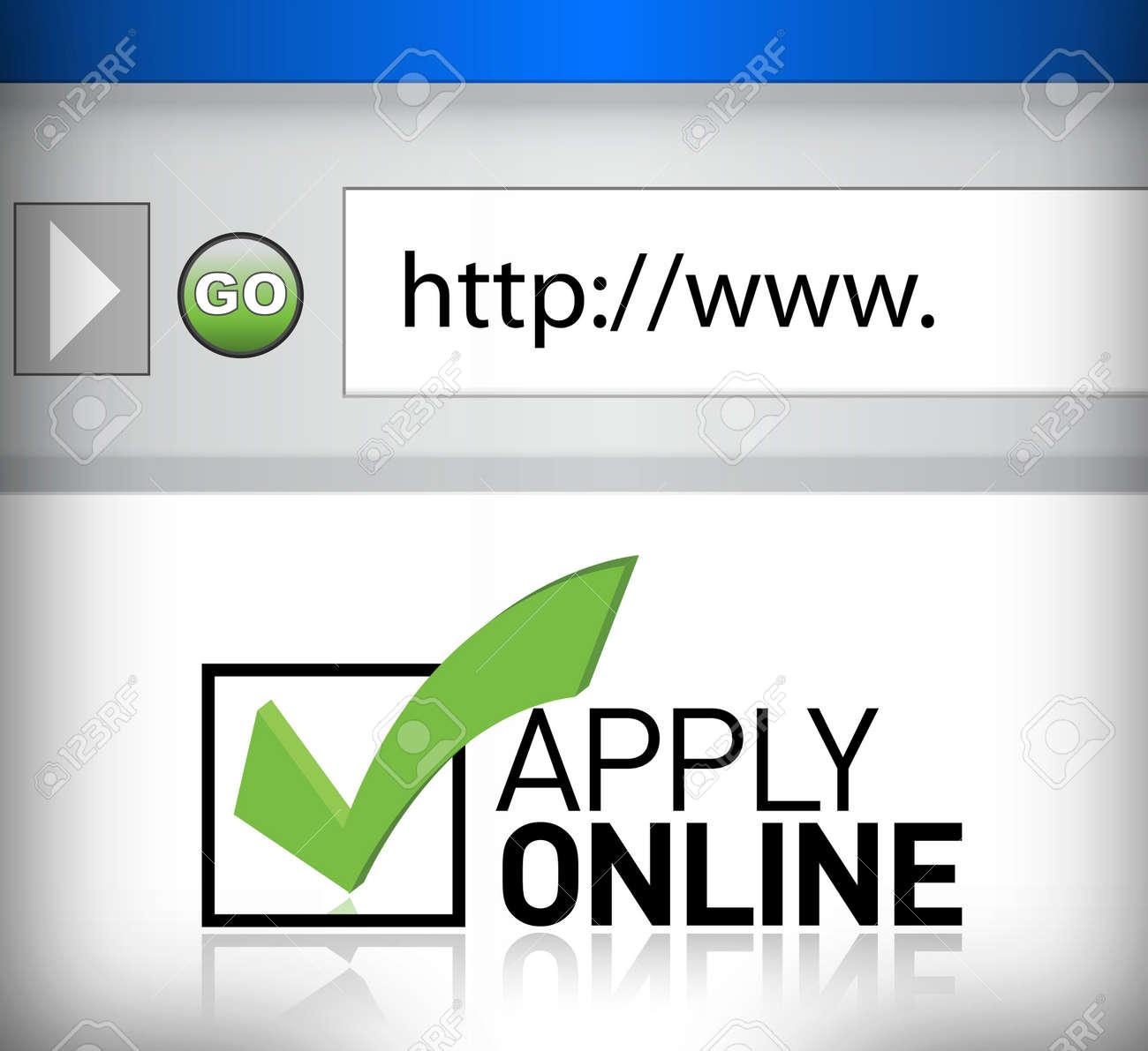 browser window shows the words apply online illustration design