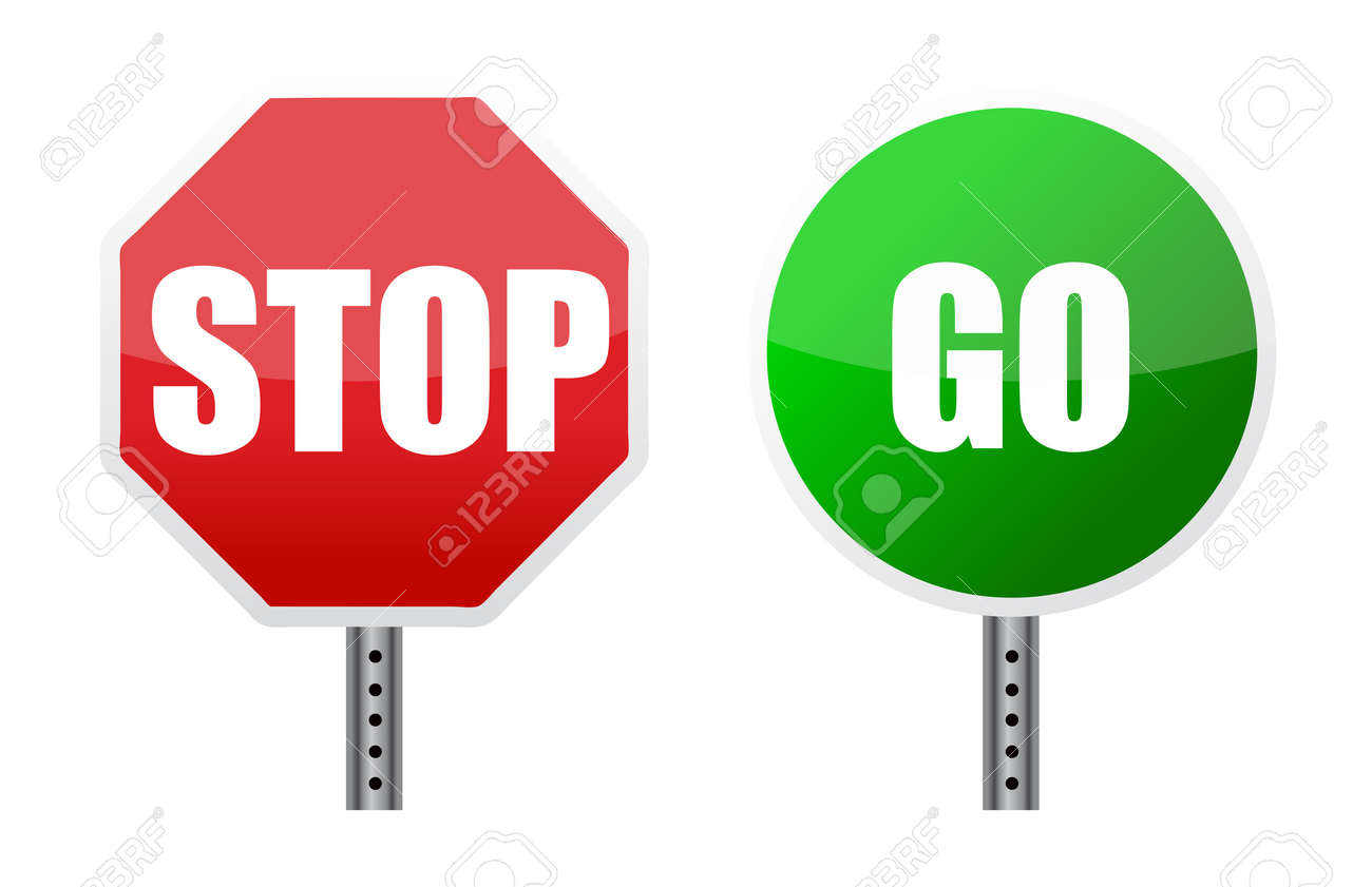 stop go sign illustrations over a white background - 11356793