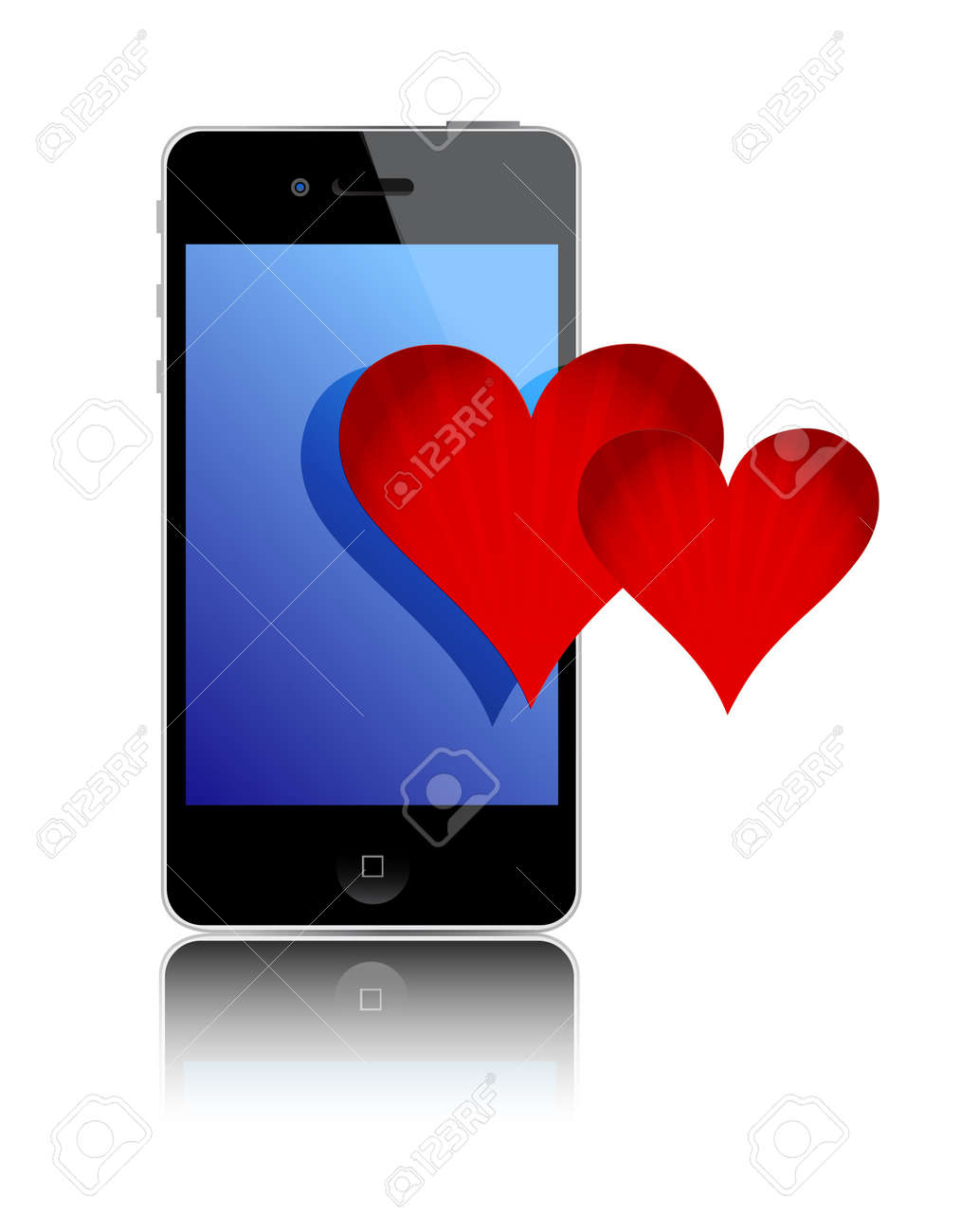 Smartphone and love hearts over a white background Stock Vector - 11621357