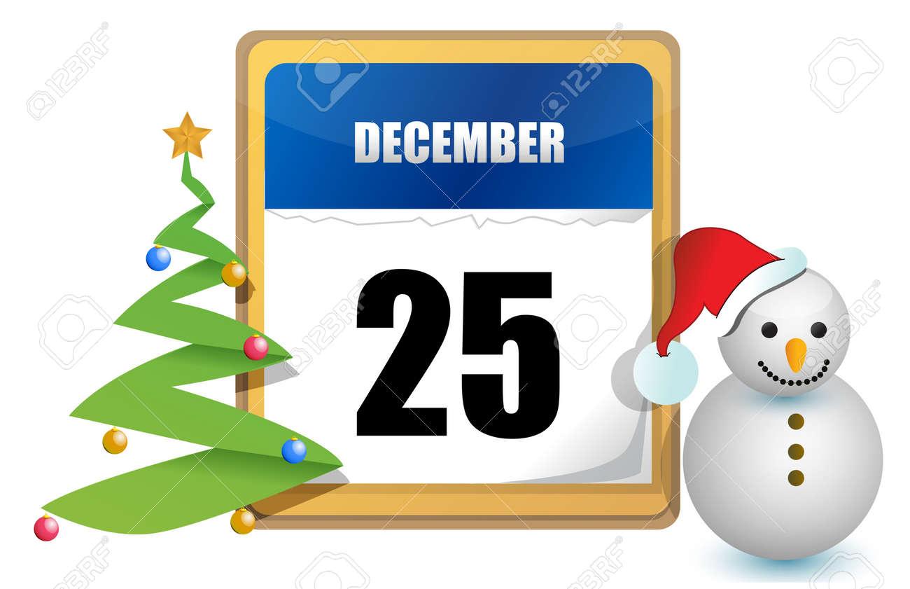 12 月 25 日カレンダー ツリーや雪だるまのイラスト デザイン 写真素材 , 11662172