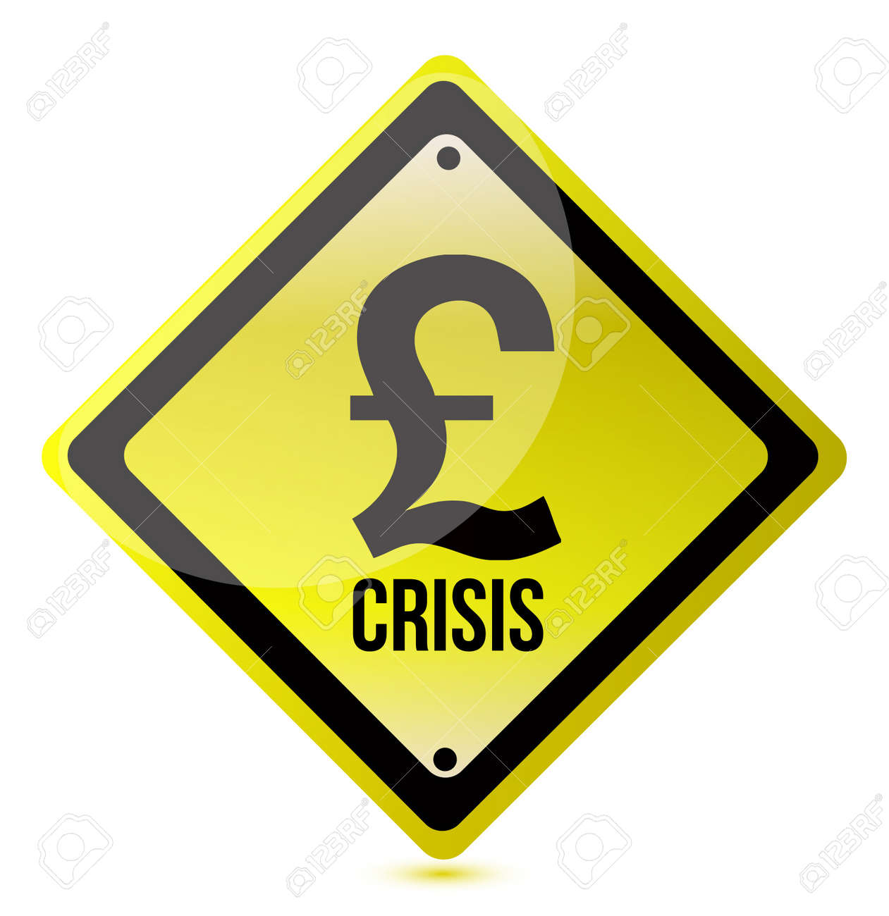 yellow pound crisis sign illustration design on white Stock Vector - 11806505