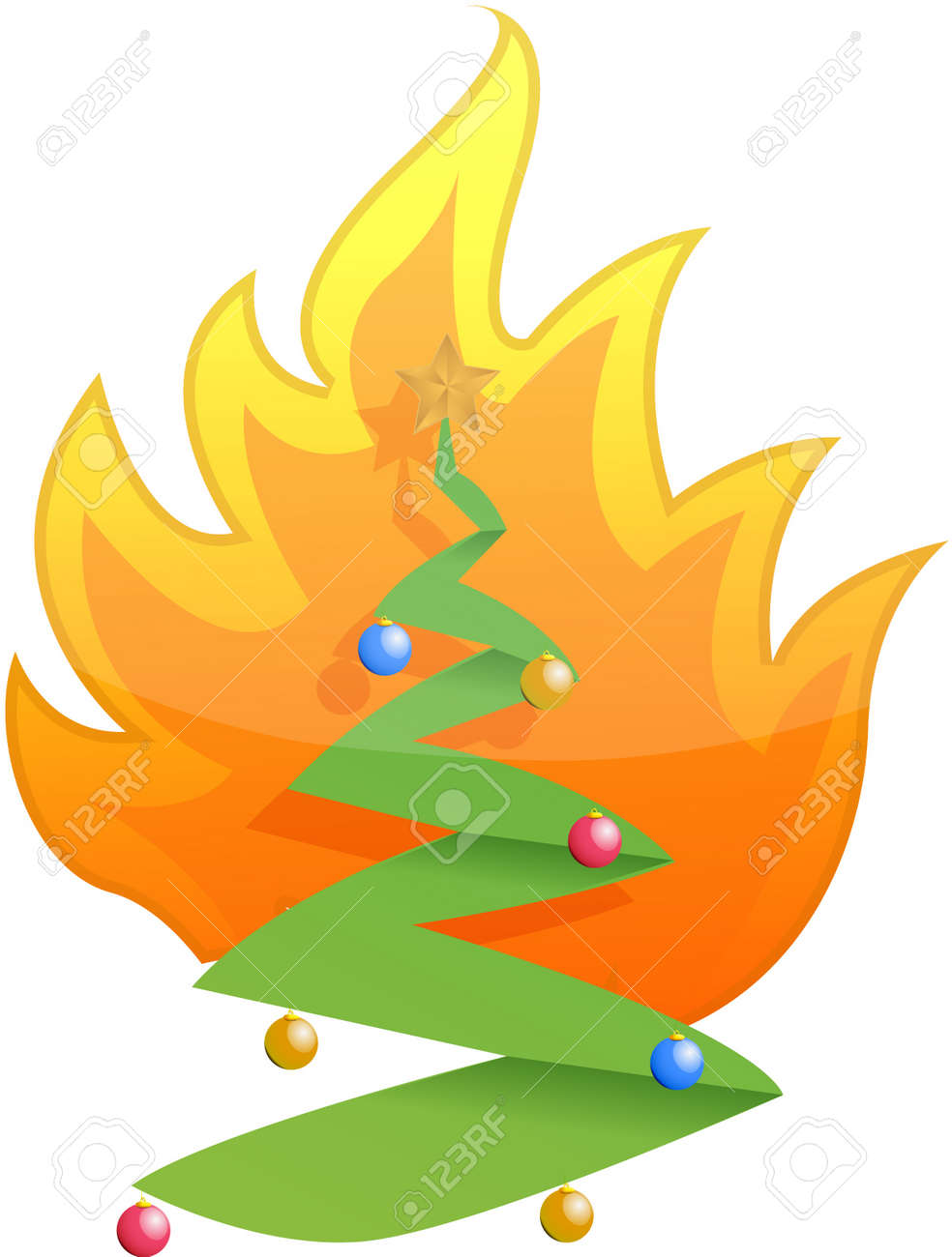 Christmas Tree On Fire Illustration Design On White Royalty Free  - Christmas Trees On Fire
