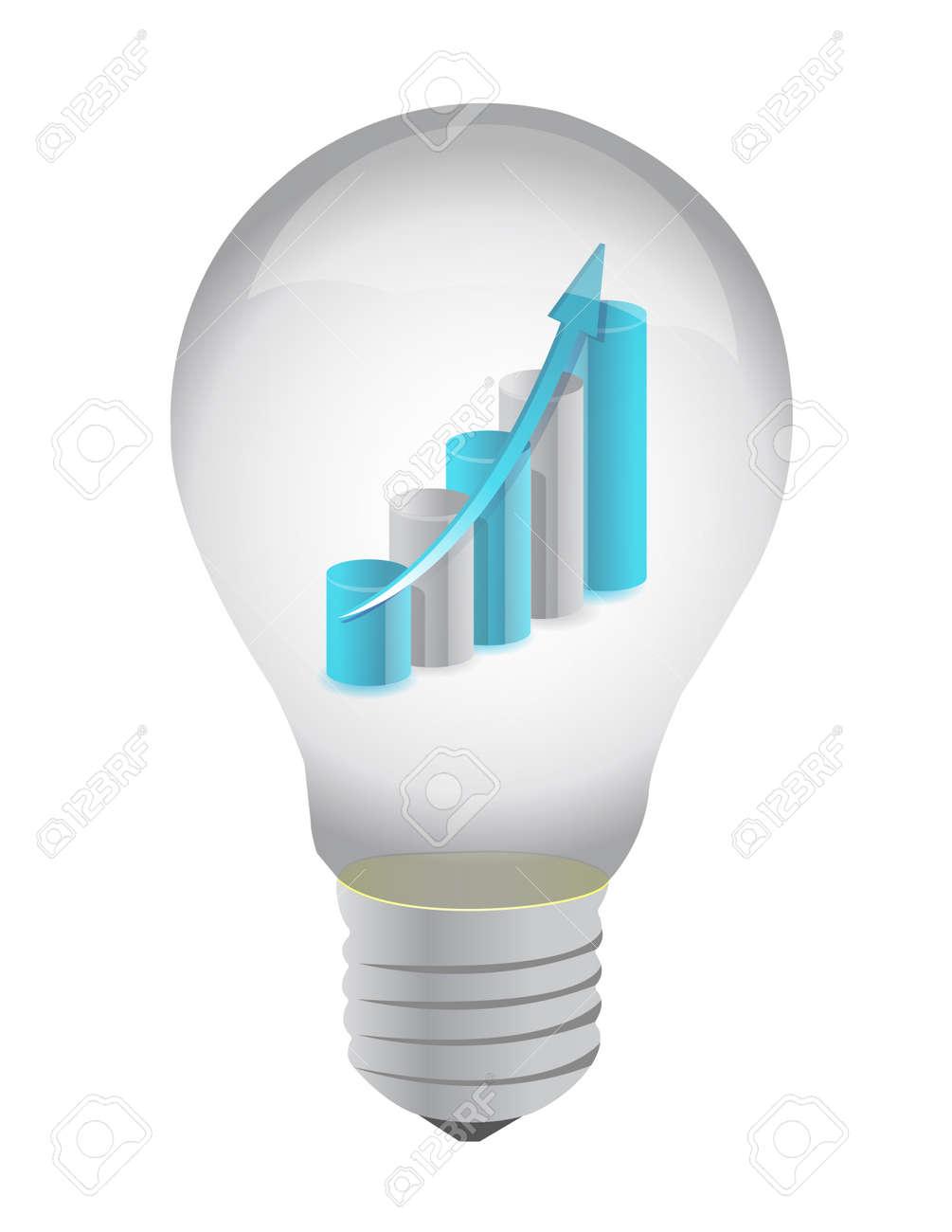 Bulb and business graph inside illustration design on white Standard-Bild - 11881202