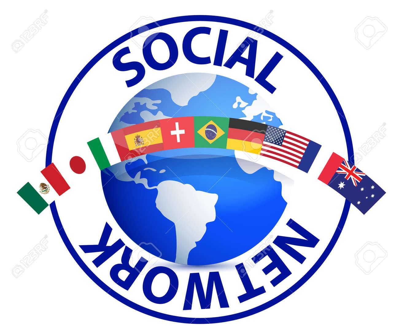 Social network text around earth globe illustration design on white Stock Vector - 12067159