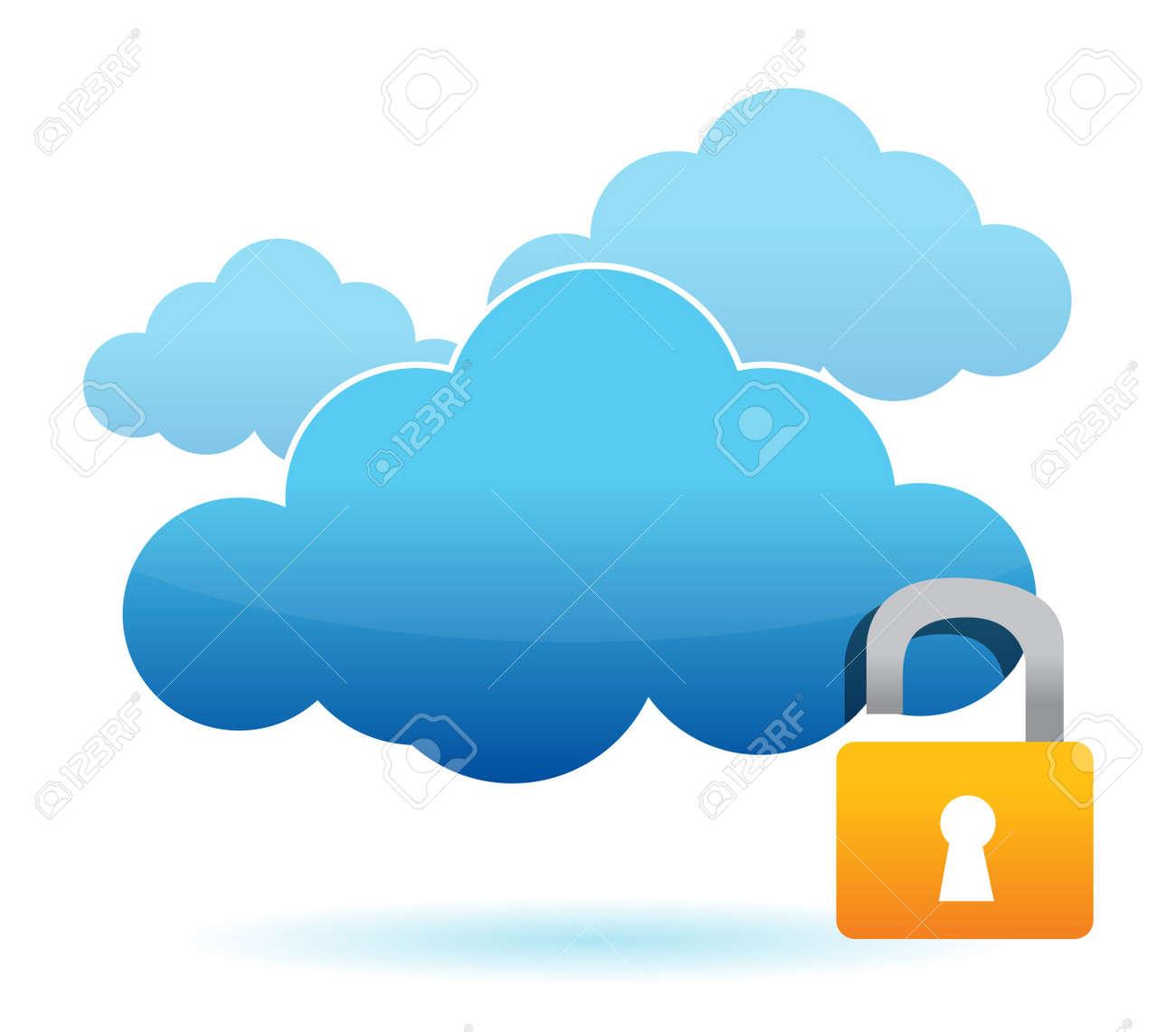 unlock cloud computer unsafe concept illustration design Stock Vector - 12784737