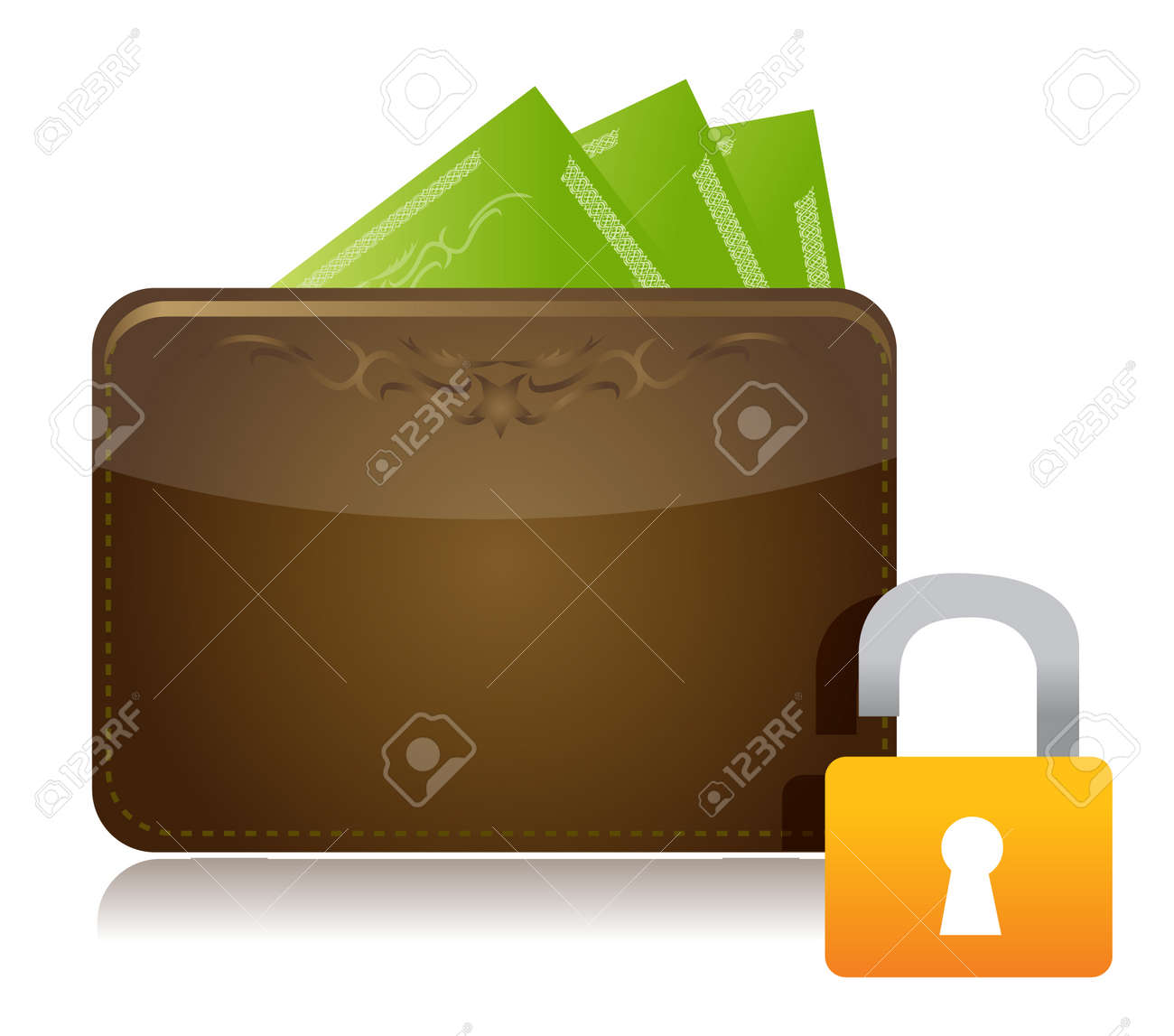 unsafe money concept illustration design over white Stock Vector - 12784747
