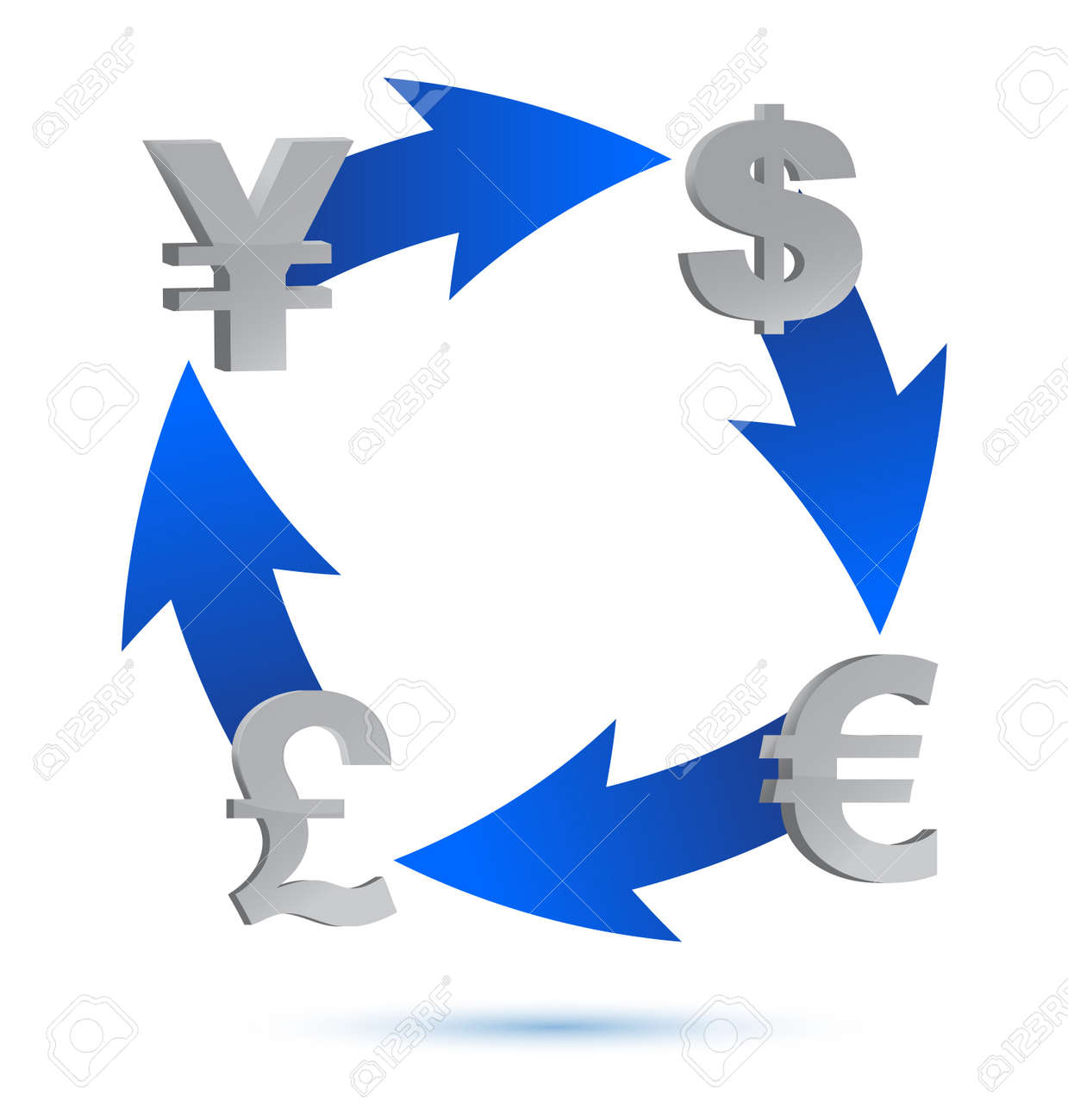 Currency exchange cycle illustration design over white Stock Vector - 13830262