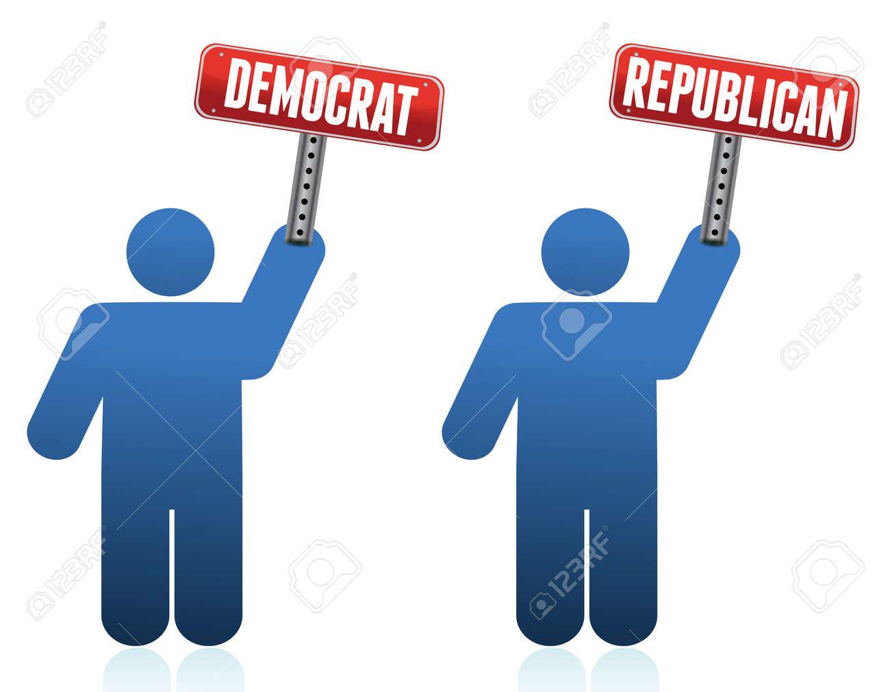 democrat and republican icons illustration over white design Stock Vector - 13880850