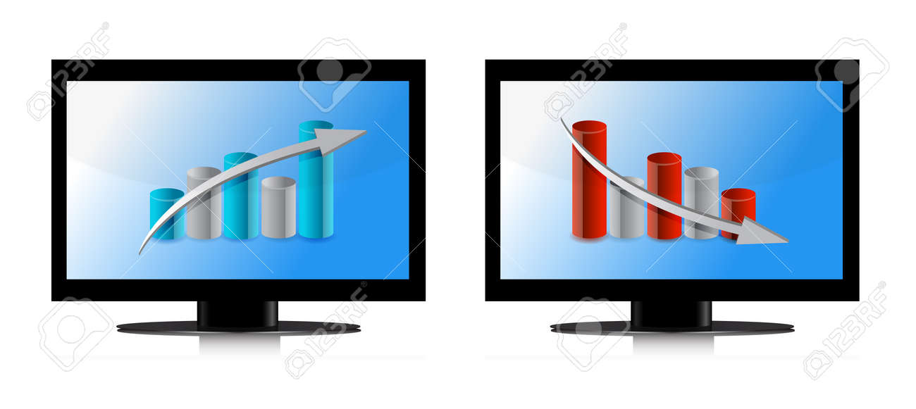 Monitor with up and down graphs illustration design Stock Vector - 13880851
