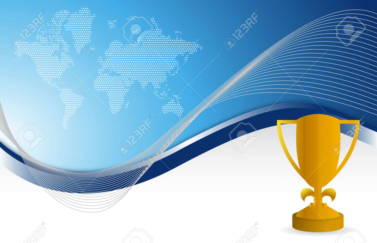 blue background and gold trophy illustration design Stock Vector - 13990799