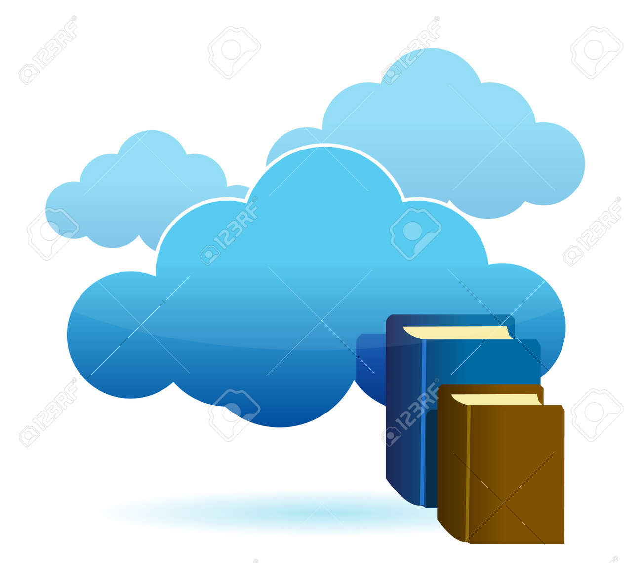 Cloud technology database as stack of books Stock Vector - 14051351