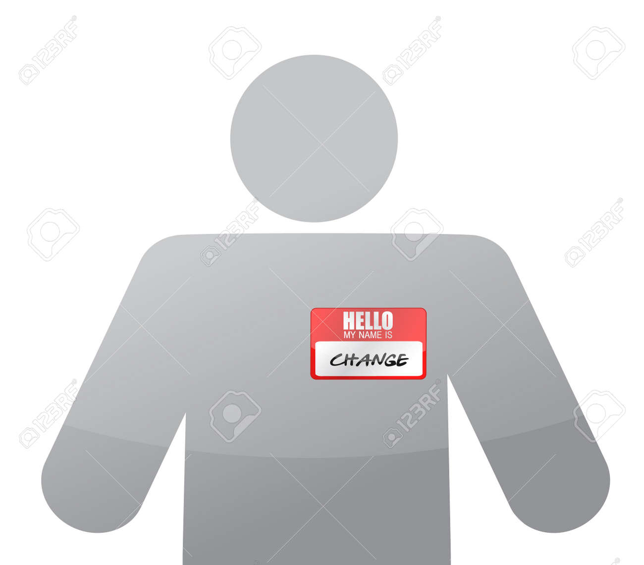 People Icon Name Tag With Word Change Over White Royalty Free Cliparts Vectors And Stock Illustration Image 15113506