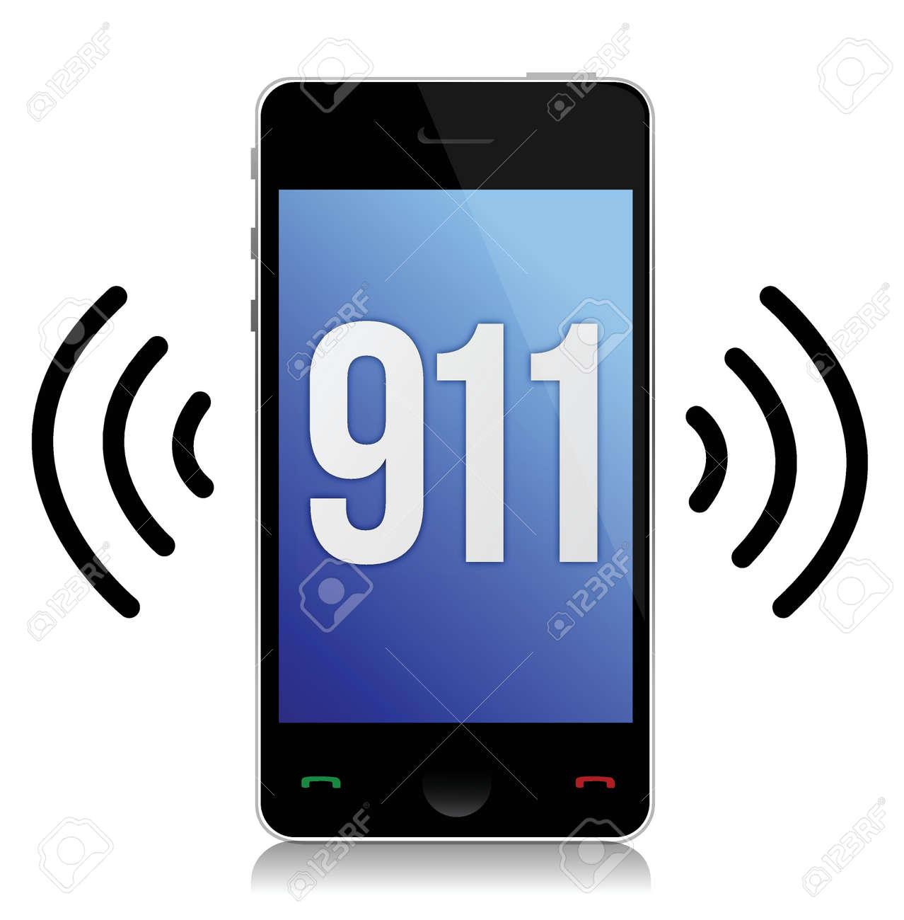 Emergency number 911 call illustration design over white Stock Vector - 15291931