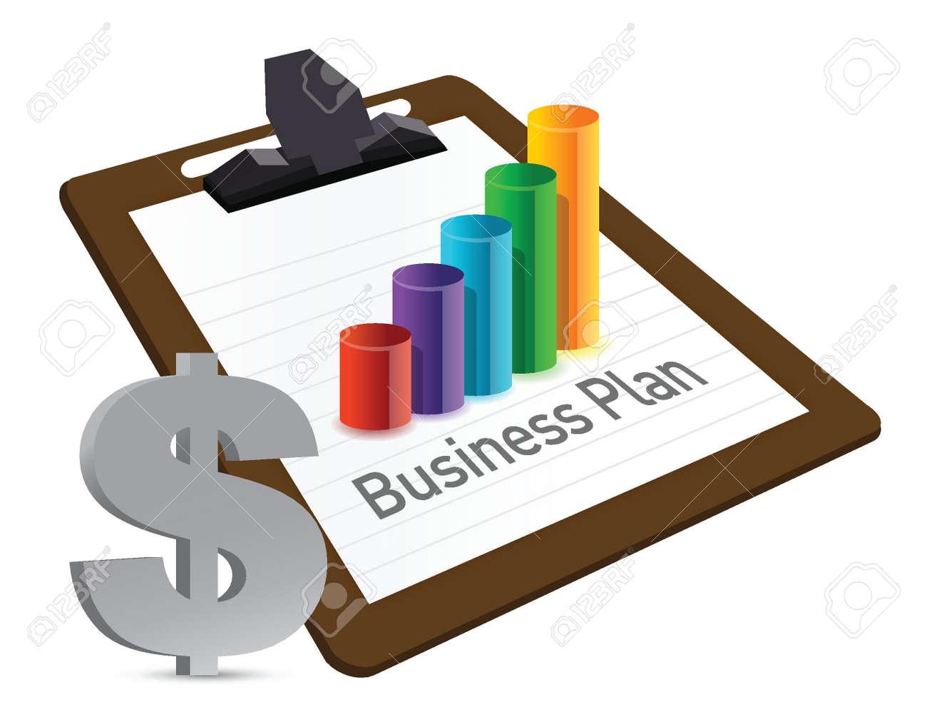 ビジネス プラン グラフと通貨イラスト デザイン ロイヤリティフリー
