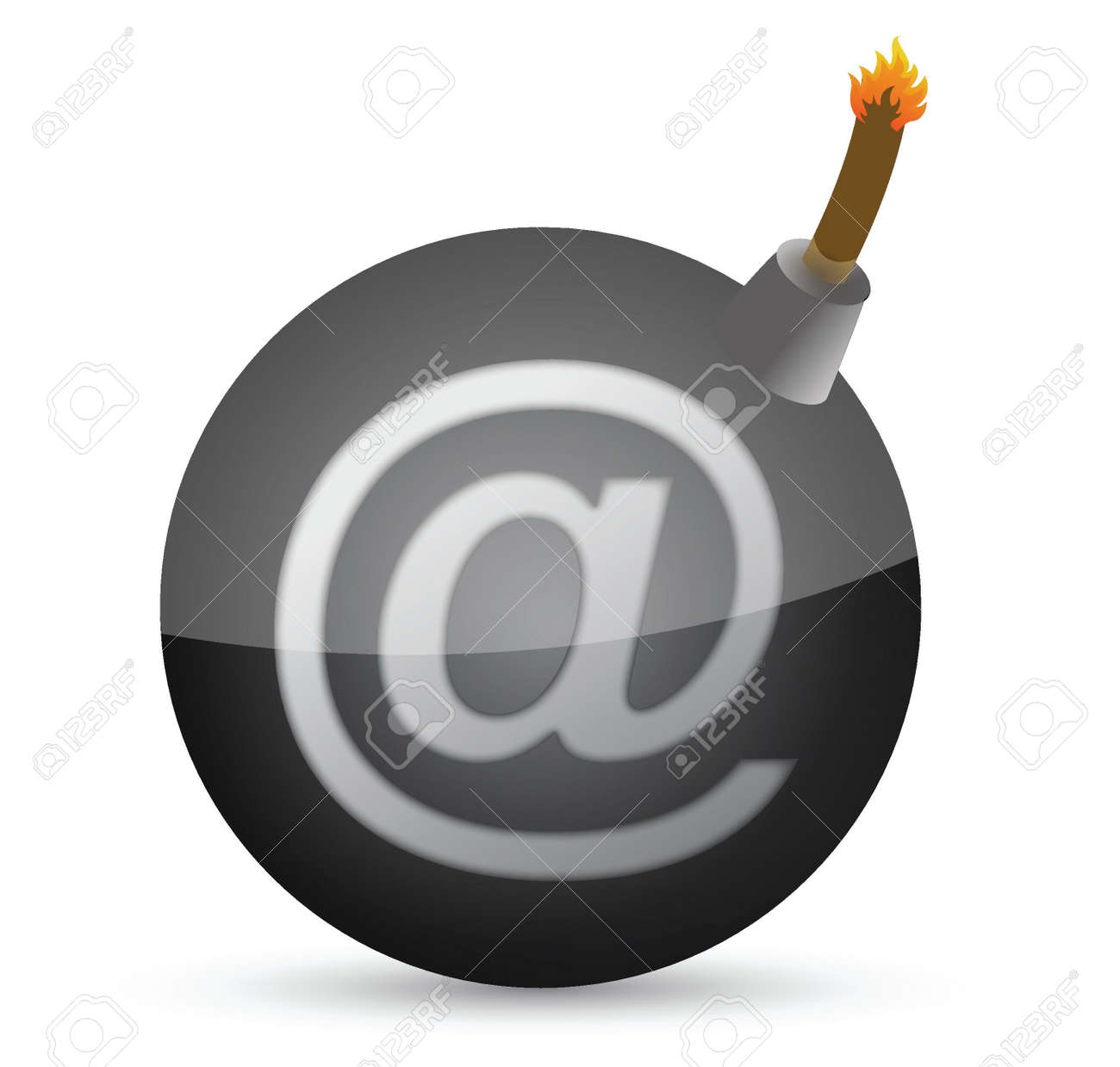 bomb with at-symbol illustration design over white Stock Vector - 15342379