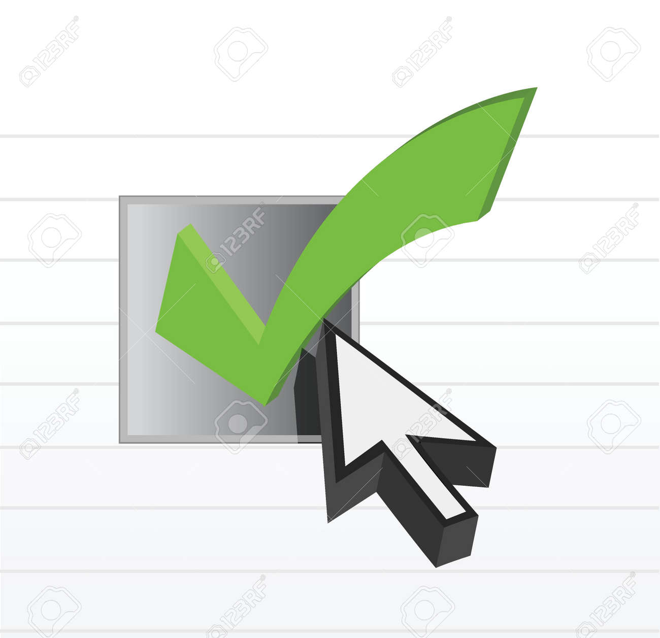 check mark online selection and cursor illustration Stock Photo - 15342230