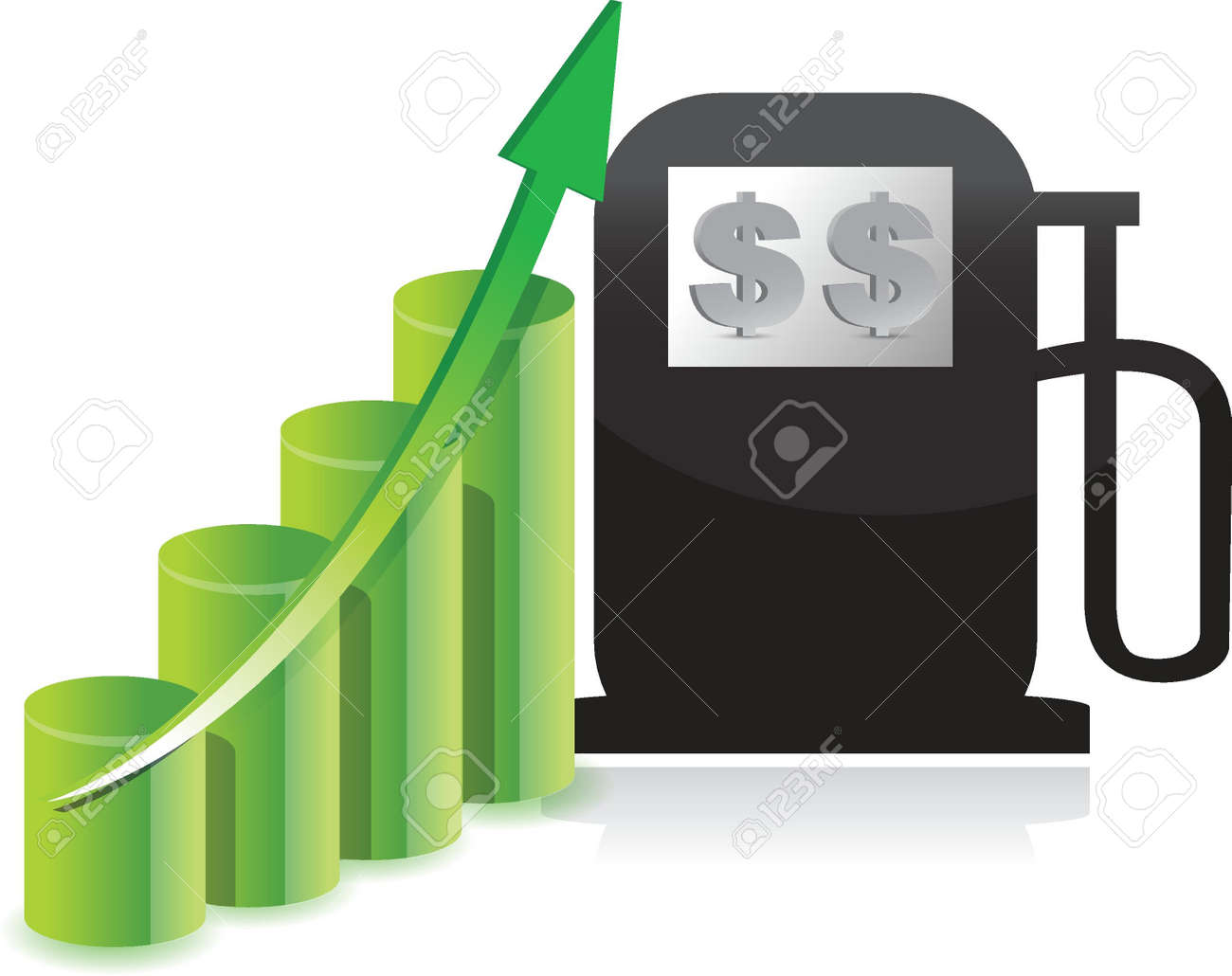 Gas cost increase graph illustration concept design over white Stock Vector - 15543877