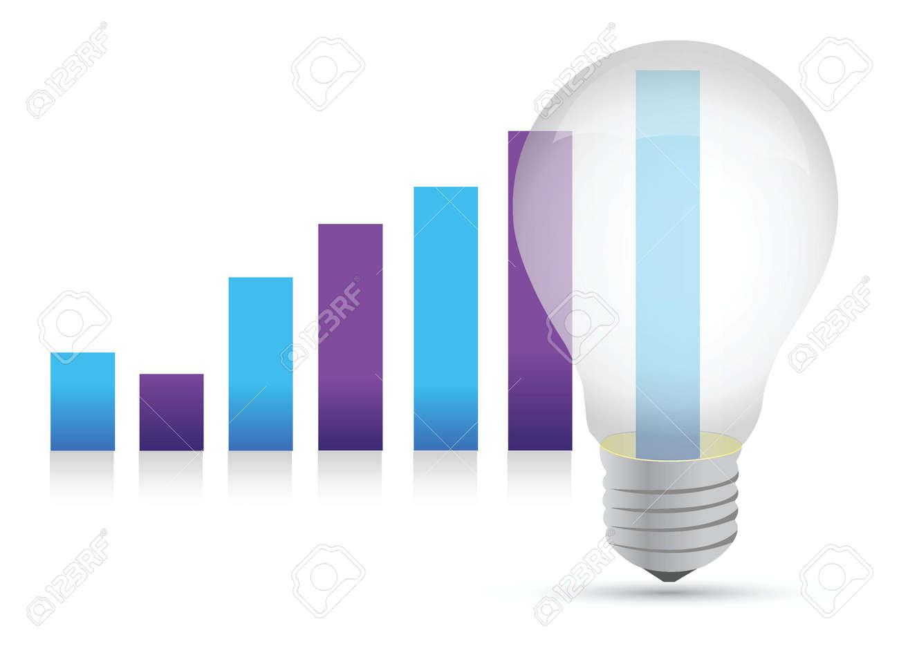 Idea lightbulb graph illustration design over white background Stock Vector - 15559787