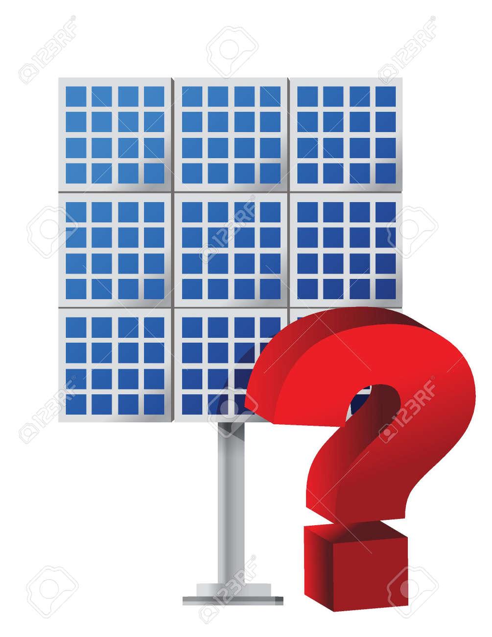 Question mark over a solar panel illustration design Stock Vector - 15565810