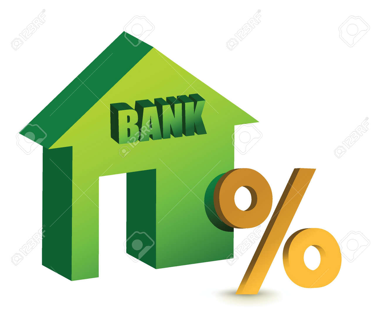 Bank with a discount sign in front illustration design over white Stock Vector - 15684958