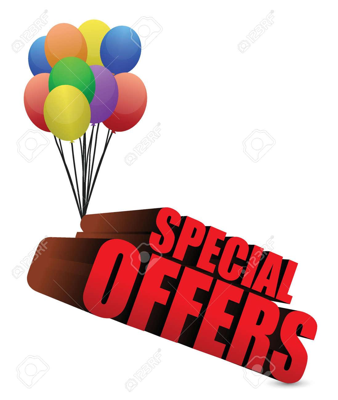Ofertas especiales signo 3d con ilustración globos coloridos