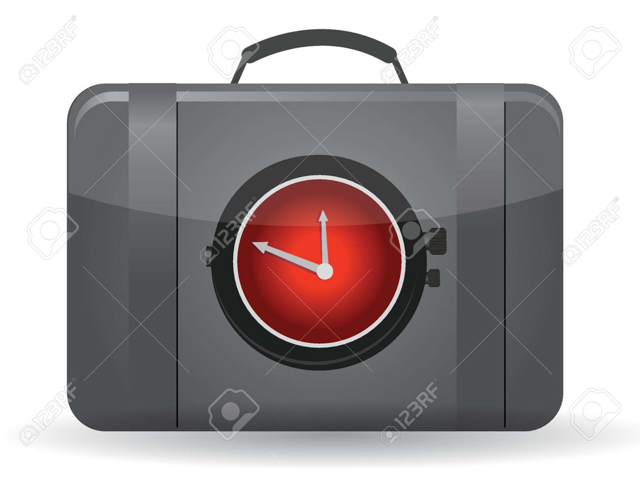 Bag with a watch in the front illustration design Stock Vector - 15925482
