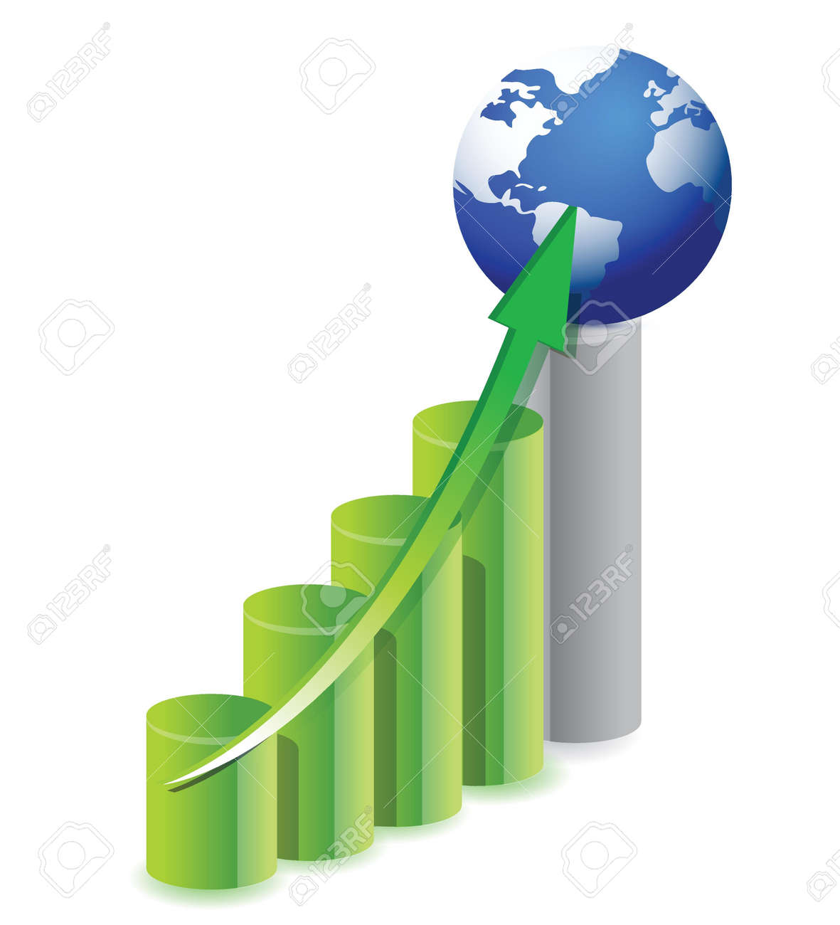 business graph with a globe in top illustration design Stock Vector - 16082576