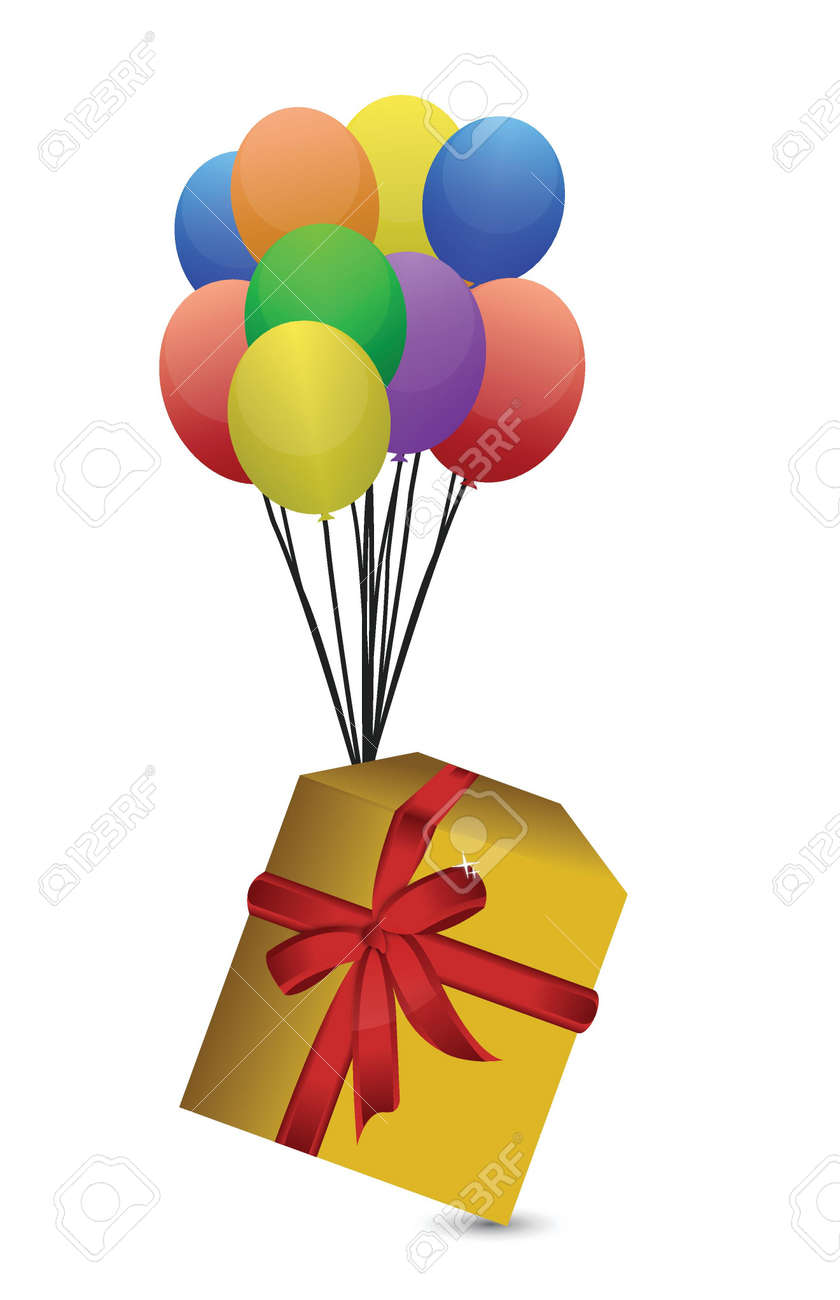 gift and balloons illustration design over white Stock Vector - 16082572