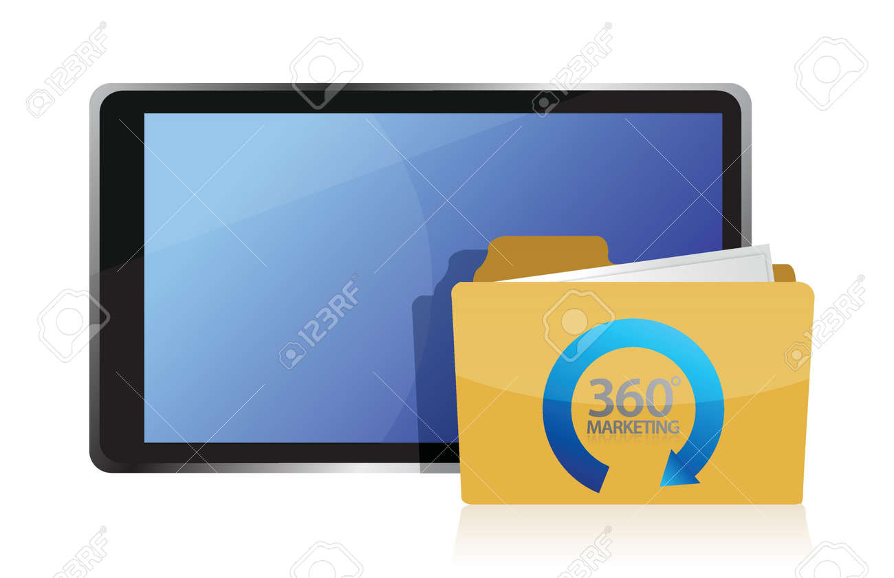 marketing 360 and tablet illustration design over white Stock Vector - 16116665