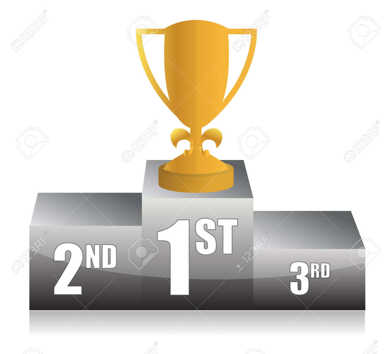 Gold Trophy Cup 1st Place Illustration Design Stock Vector