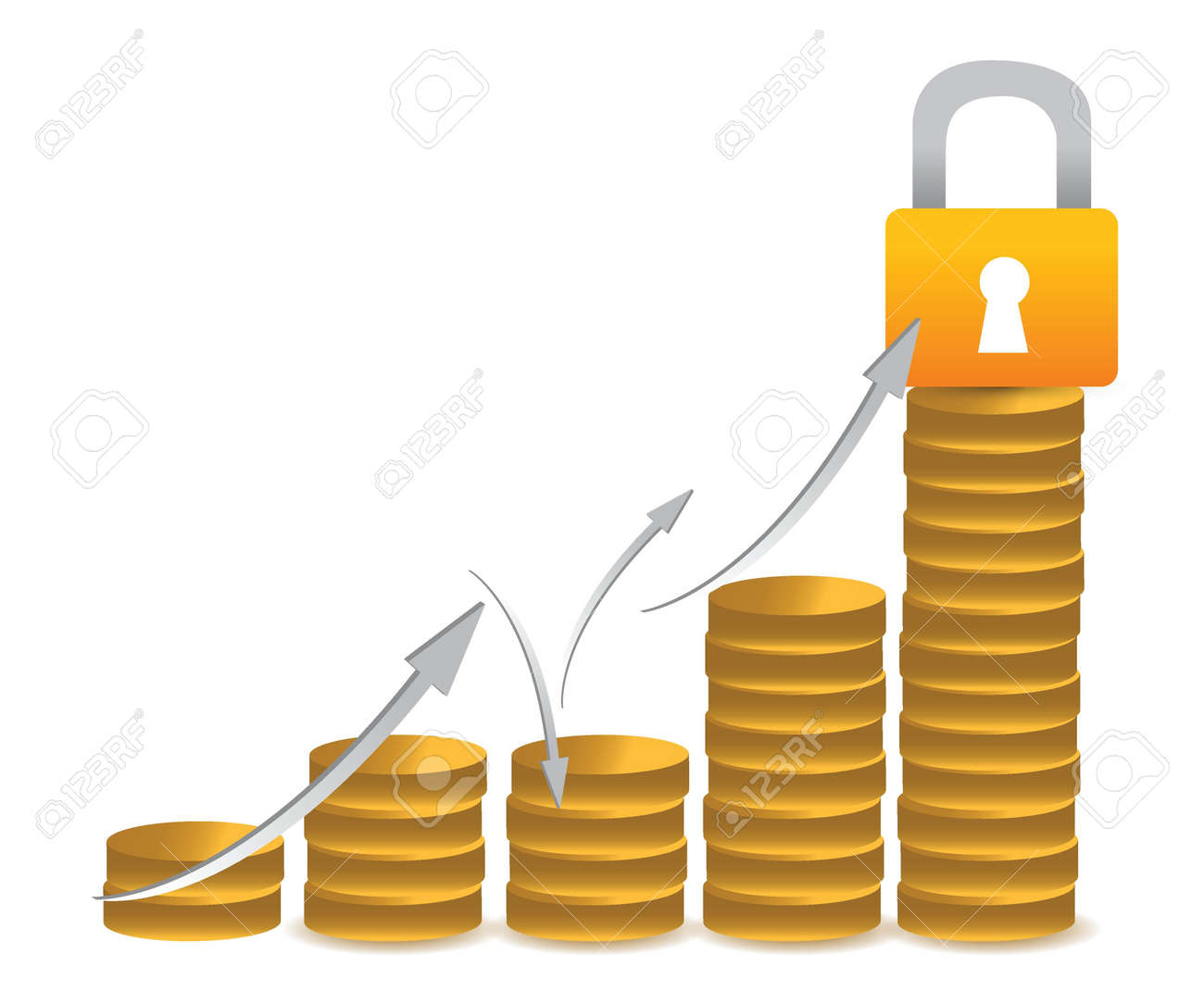 business coin protected by lock graph illustration Stock Vector - 16117552
