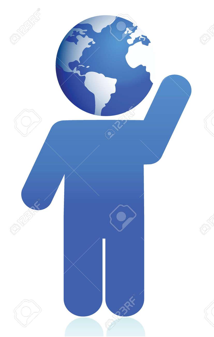globe head icon illustration design over white Stock Vector - 16117565