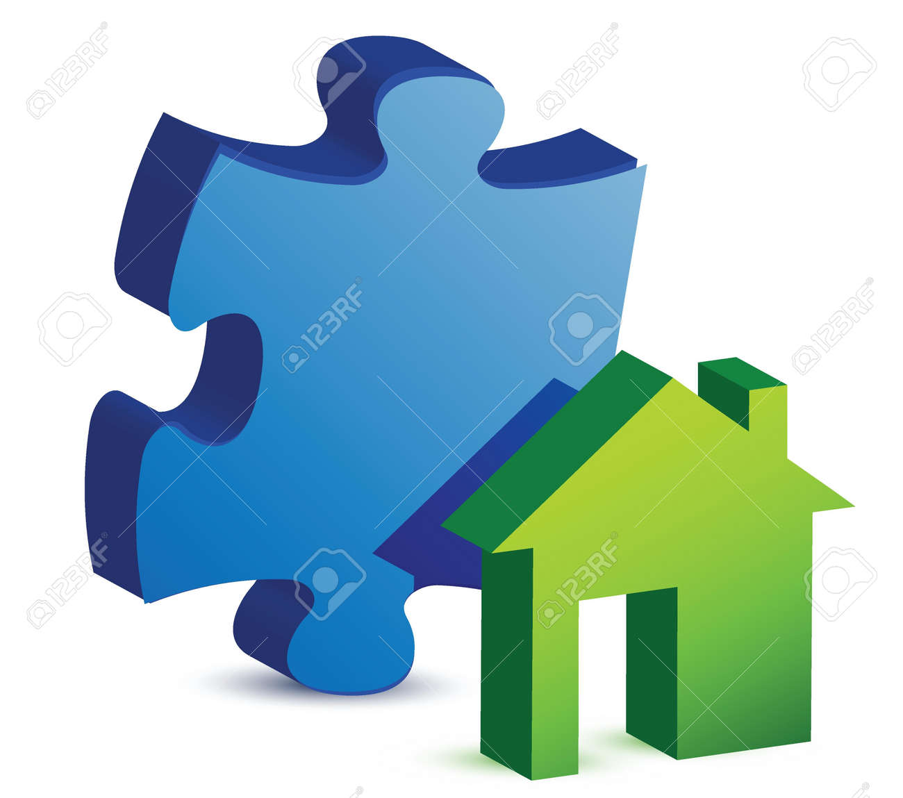 house and puzzle piece illustration design over white Stock Vector - 16117554