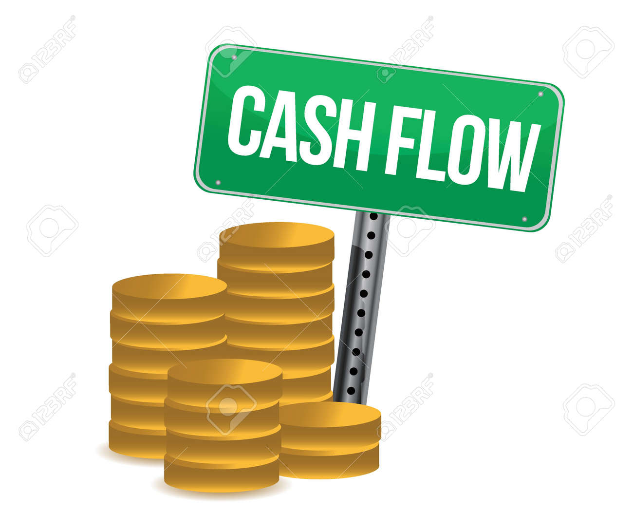 cash flow and signs over white background design over white Stock Vector - 16190824