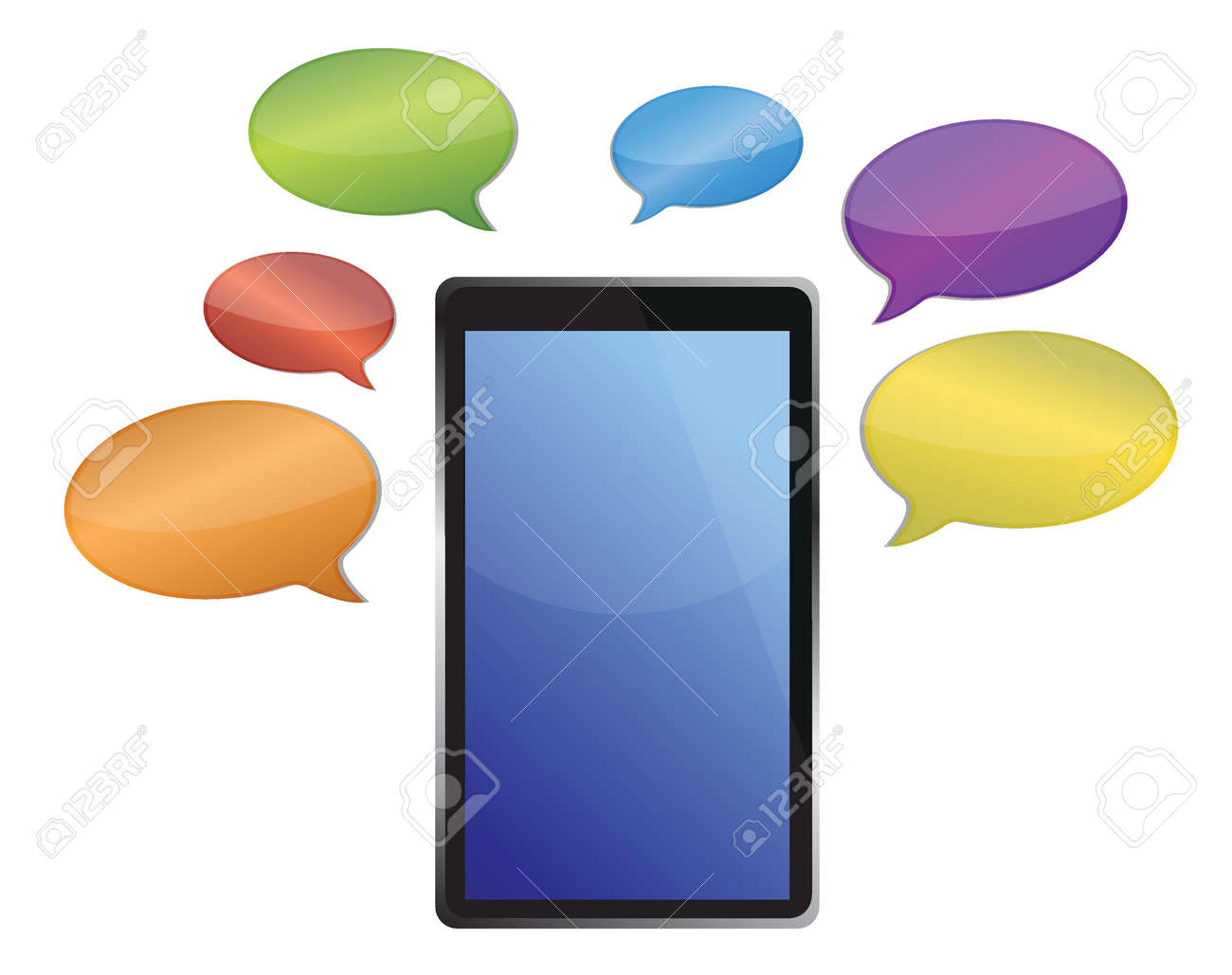 messages around a tablet illustration design over white Stock Vector - 16190821